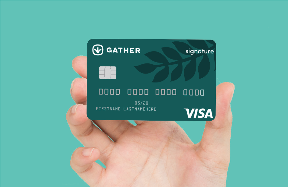 a person holding Gather Signature Credit Card